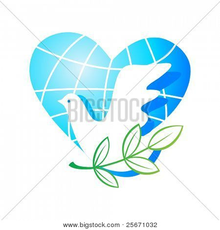 Peace on Earth - the traditional symbols - the planet of a heart, a dove with a green branch. Vector.