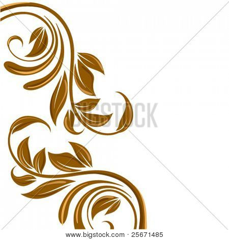 gold floral border, swirl flower