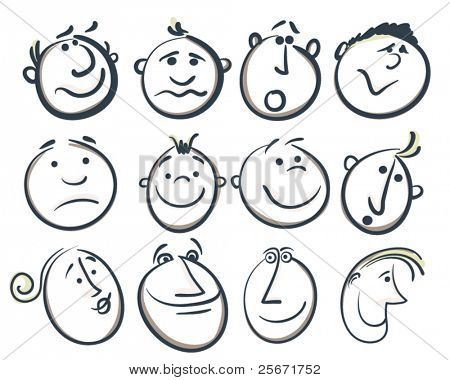 sketch cartoon people faces