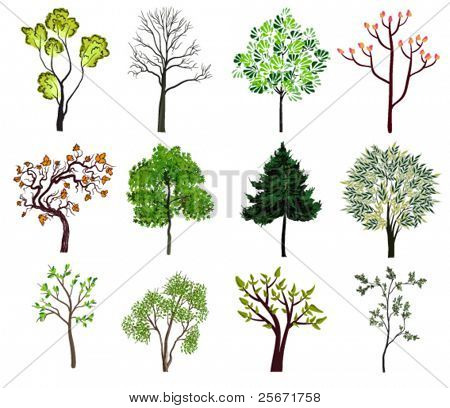 green trees icons, spring nature collection