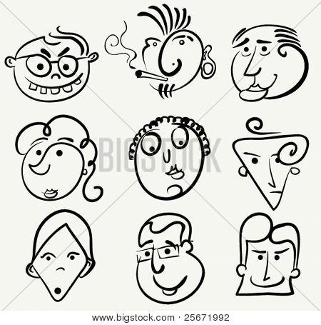 Cartoon face vector set. Doodle people caricature.