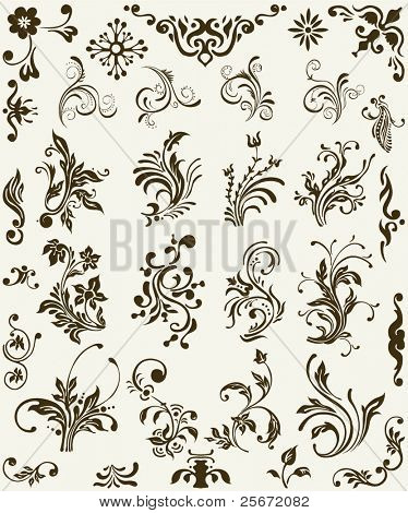 Vintage floral elements, scroll ornament