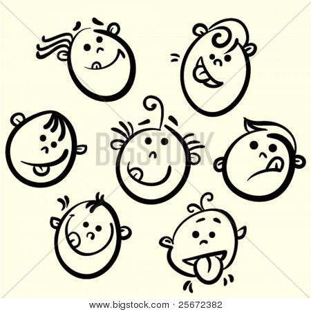 Kid face vector cartoon