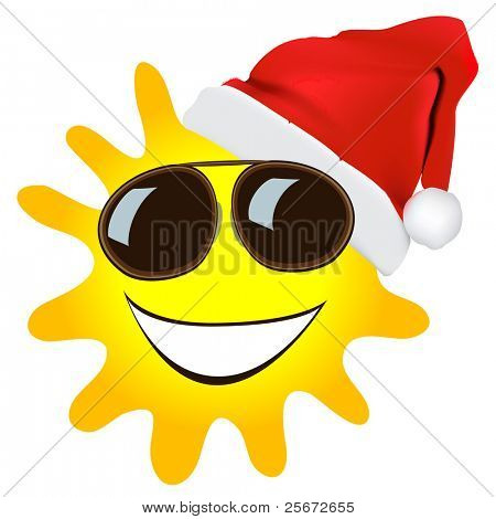 christmas sun vector cartoon