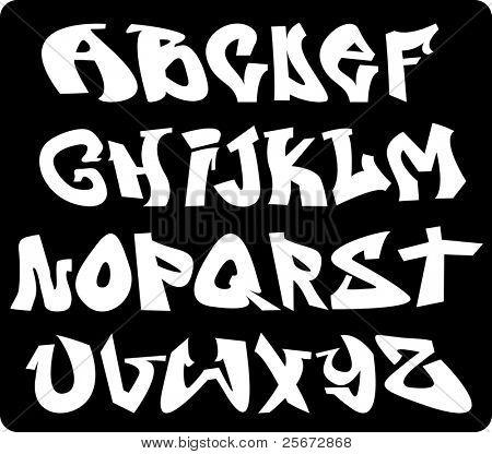 alfabeto de fonte graffiti
