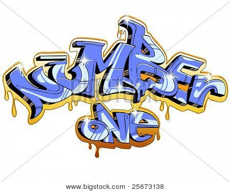 graffiti vector design. Number one