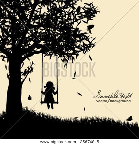 Vektor Silhouette Girl on swing