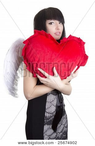 Beautiful Angel Woman Embracing Red Heart