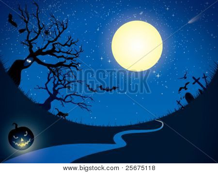 Ominous moon night.  Vector  illustration.
