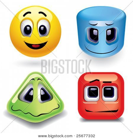Smiling balls as different geometric shapes