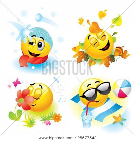 Smiley balls in different season