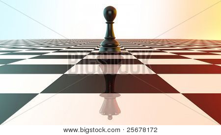 Chess pawn reflecting king