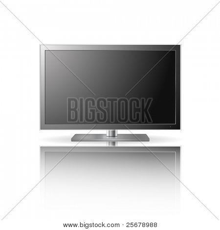 LCD TV set with reflection (vector)