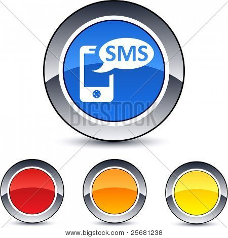 SMS glossy round web buttons.
