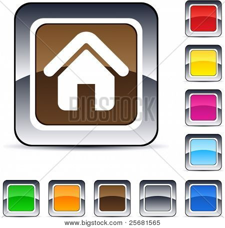 Home glossy square web buttons.