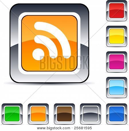 Rss glossy square web buttons.