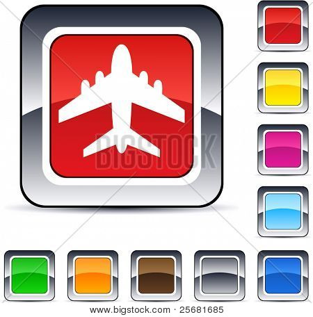 Aircraft glossy square web buttons.