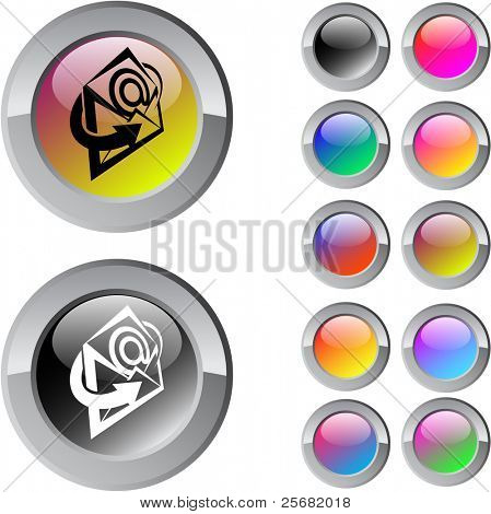 E-mail multicolor glossy round web buttons.