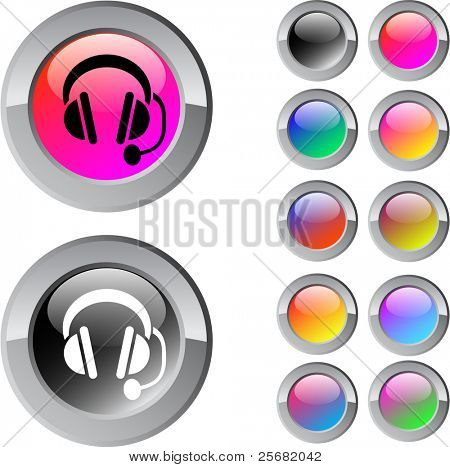 Call center multicolor glossy round web buttons.