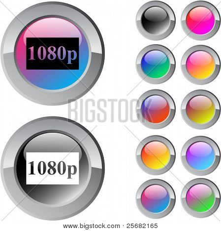 1080p multicolor glossy round web buttons.