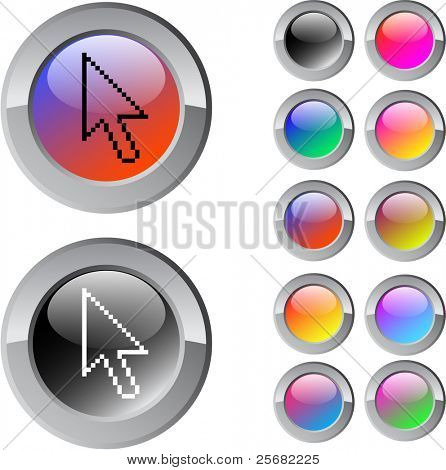 Pixel arrow multicolor glossy round web buttons.
