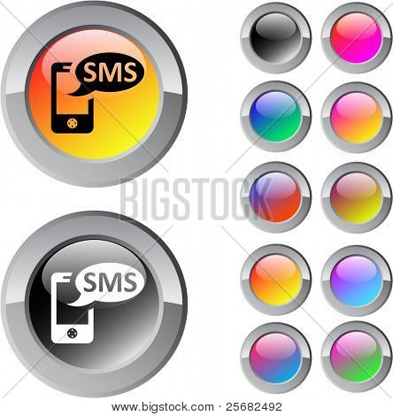 SMS multicolor glossy round web buttons.