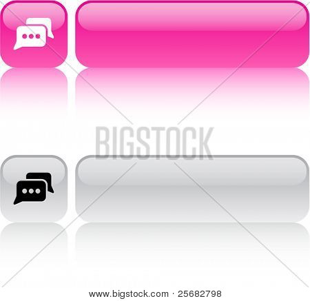 Chat glossy square web buttons.