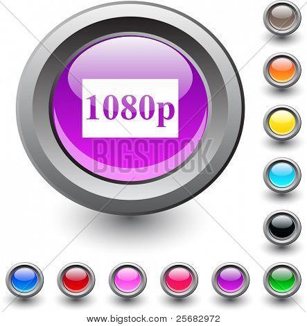 icono redondo vibrante metálico de 1080p.