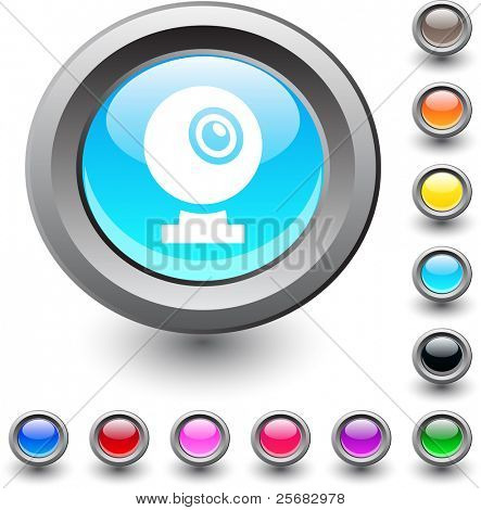 Webcam  metallic vibrant round icon.