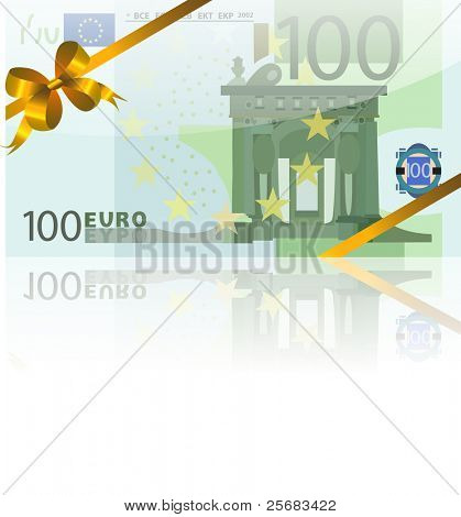 gift wad of 100 euro with a gold ribbon
