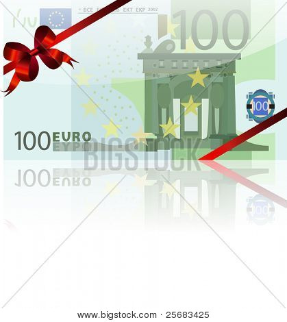 gift wad of 100 euro with a red ribbon