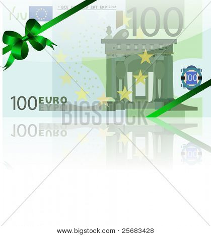 gift wad of 100 euro with a green ribbon