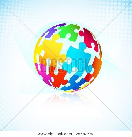 Ball of multicolored puzzle pieces. Vector background