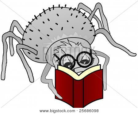 spider book and glasses