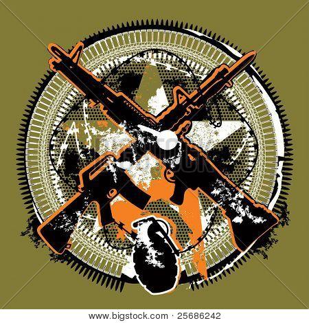 Silueta de un rifle con una ametralladora y una granada de mano