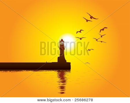 Vector illustration of Lighthouse on sunset