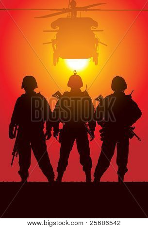 Vector silhouette of tree soldiers with helicopter on the background