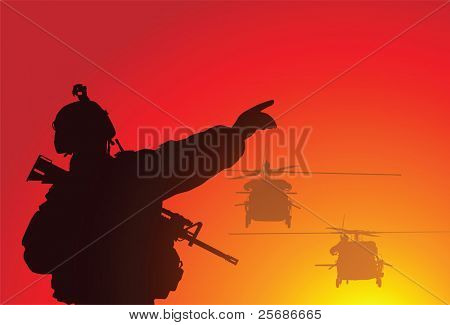 Silhouette of a soldier with helicopters