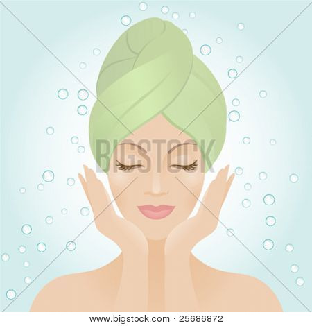 Beautiful women washing her face