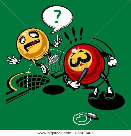 Billiards balls. Comics drawing. Vector Illustration (EPS v. 8.0)