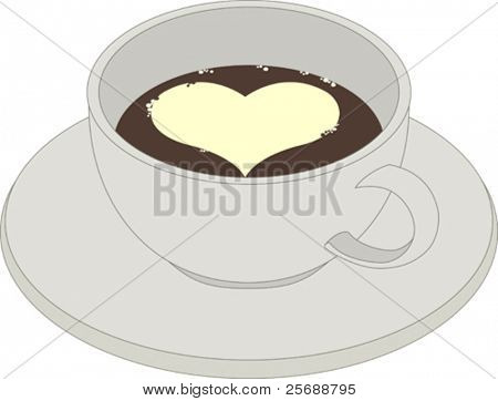 Coffee cup with foam heart