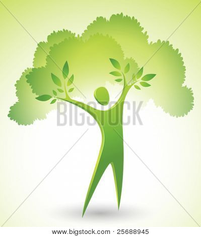 Eco-icon of a green tree man