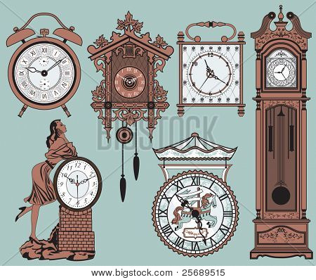 A set of elegant antique clocks