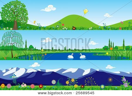 Three summer tranquil banners - vector illustration