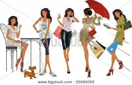 Collection of beautiful fashion city girl in different situations isolated on white background