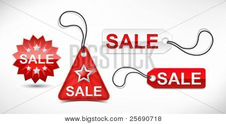 Vector set of red discount ticket, labels and tags