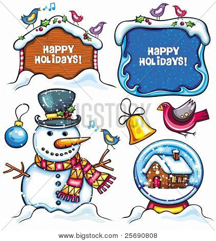 Christmas set: Snowman, Snow Ball, frame, birds, bell, xmas ornaments, holly berry. Cute Holiday banners  with space for your text. isolated on white background.