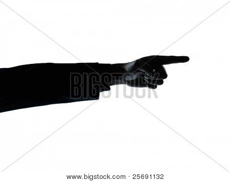one caucasian close up detail one man hand pointing silhouette in studio isolated on white background