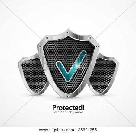 Protected background. Vector steel shield with check marks