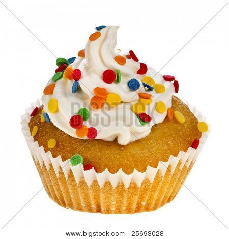 cupcakes with colorful  sprinkles on white  background